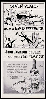1949 John Jameson's Irish Whiskey horse riding cartoon vintage print ad