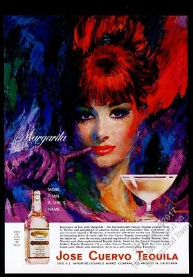 1965 Jose Cuervo Tequila beautiful woman art Margarita recipe vintage print ad
