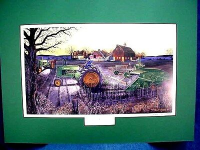 """Russell Sonnenberg John Deere 2-Cyl. Tractor """"deere Harvest"""" - Matted - Signed"""
