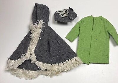 Vintage Barbie Clothes Outerwear Grey Cape Poncho Hat Green Tweed Coat Lot