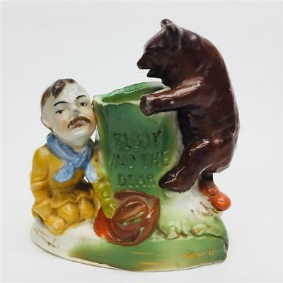 Antique Porcelain Toothpick Teddy Roosevelt & The Bear Made in Germany #3573