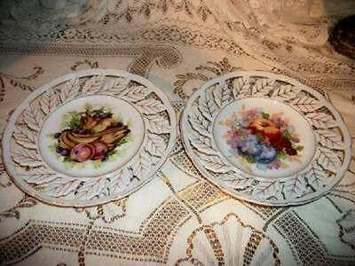 Chic Vintage Beautiful Germany Porcelain Fruit Plates Shabby Collectible Pair Hp