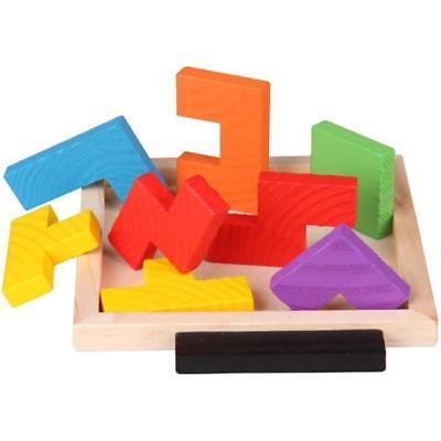 Wooden Tangram Brain Teaser Puzzle Tetris Preschool Game Children Play Toys Y