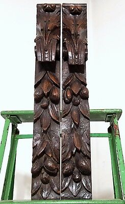 Architectural Salvage Post Pillar Two Antique French Farmhouse Carved Wood Trim