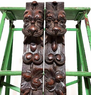 Architectural Salvage Post Pillar Pair Antique French Carved Wood Hunting Trim