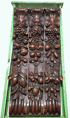 Architectural Salvage Post Pillar Pair Antique French Carved Wood Grapes Trim