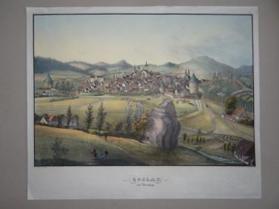 Goslar vom Petersberge Kirche Panorama Ansicht Oehme kol. Lithographie 19. Jh.