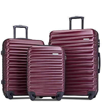 "Merax 3 Piece Luggage Sets Hardside Spinner Suitcase Light weight 20"" 24"" 28"""