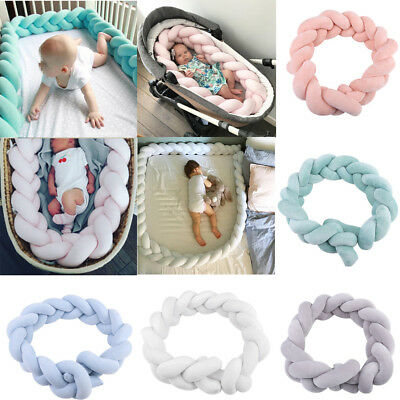 5Colors Baby Infant Plush Crib Bumper Bed Bedding Cot Braid Pillow Pad Protector