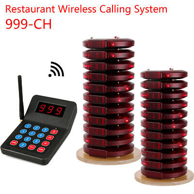 999CH Restaurant Wireless Calling Paging Systems 1*Transmitter&20*Coaster Pager