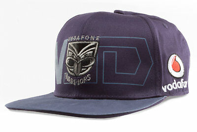 Canterbury Mens New Zealand Warriors NRL 2018 Rugby Flat Peak Cap Blue