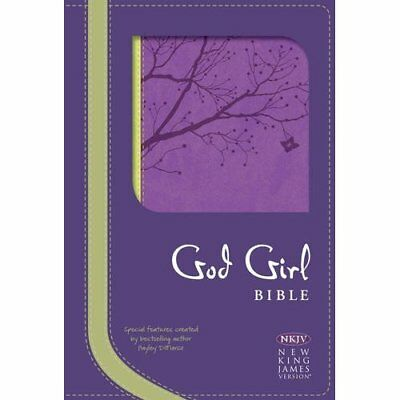 NKJV God Girl Bible, Pretty Purple/Neon Green, Tree Des - Imitation Leather NEW