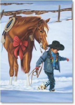 Xmas Cards Young Girl w/CHESTNUT HORSE Holiday Cards 10 per box