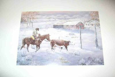 Xmas Cards COWBOY Bringing the Last Stray Home Holiday Cards 10 per box