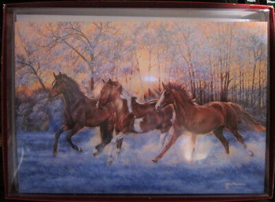 Xmas Cards Horses Galloping in Morning Snow Holiday Cards 10 per box made in USA