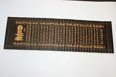 Chinese Scroll Wooden Bamboo Carved Writing & Buddha Portrait with Signed
