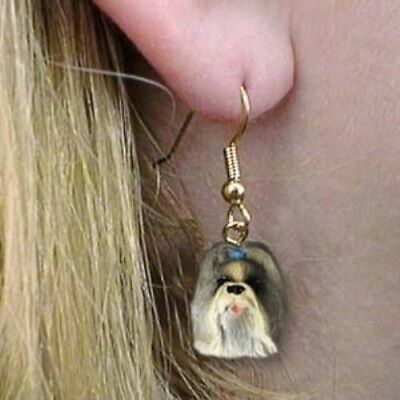 Dangle French Wire SHIH TZU MIXED COLOR Dangle Head Earrings CLEARANCE
