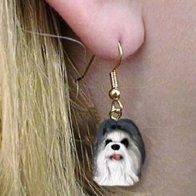 Dangle French Wire SHIH TZU GRAY Dog Head Earrings