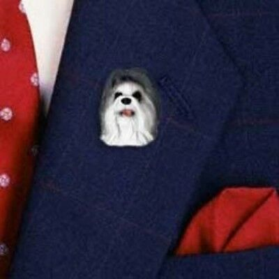 Resin Pin SHIH TZU GRAY Dog Head Pin/Tietac CLEARANCE