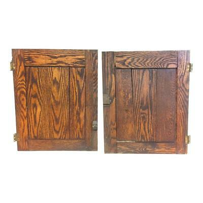 2 Vintage WOOD CABINET DOORS rustic cupboard shabby pair panel cottage primitive