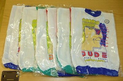 "6 x VINTAGE 1980's UNWORN KIDS ""DUDE HEAD"" SWEATSHIRTS ASSORTED AGES & COLOURS"