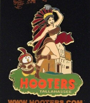 Hooters Apalachee Province Indian Girl Tallahassee Fl Florida Old Town Pin