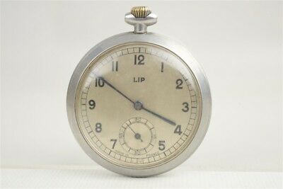 Vintage 1950s LIP French Men's Open Face Stainless Steel Pocket Watch Art Deco