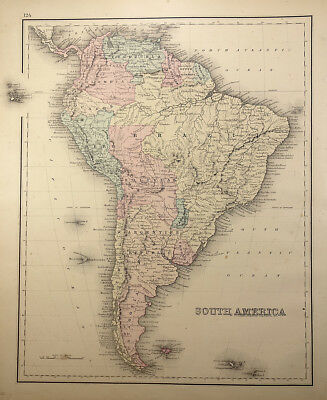 Gray's 1877 Atlas Map of South America, Central America and West Indies Bermuda