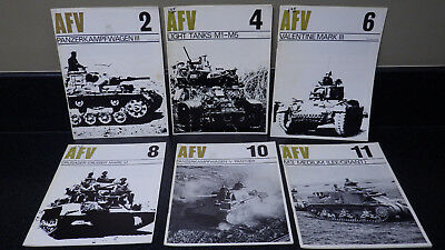 6 Vtg 1960s WWII AFV Magazines Profiles Armour LOT * tanks history hobby model