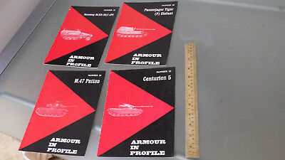 4 Vtg 1960s WWII Armour In Profile Magazines LOT *tanks history hobby model info