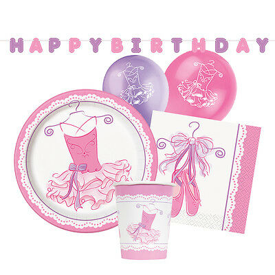 PINK BALLERINA Birthday  (Party Tableware, Banners, Balloons & Decorations) (1C)