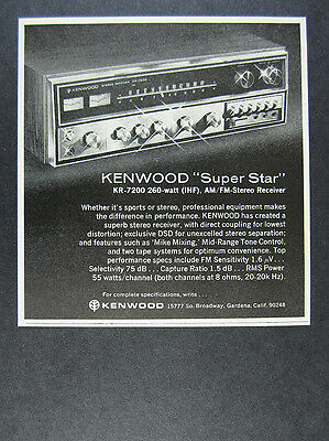 1973 Kenwood KR-7200 Stereo Receiver photo vintage print Ad