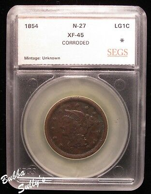 1854 Braided Hair Large Cent <> XF + Details <> N-27