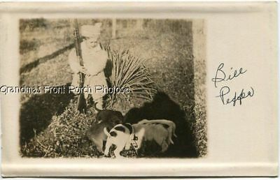 RPPC LIL BOY w RIFLE & DOGS PUPPY ANTIQUE STUDIO REAL PHOTO POSTCARD KANSAS CITY