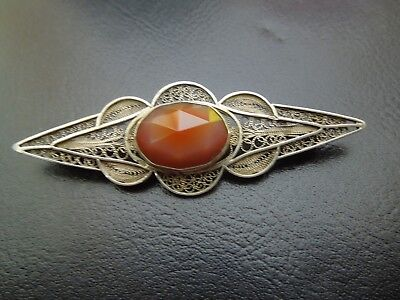 K644  Antique Dutch   Silver Filigree Carnelian Brooch See Description