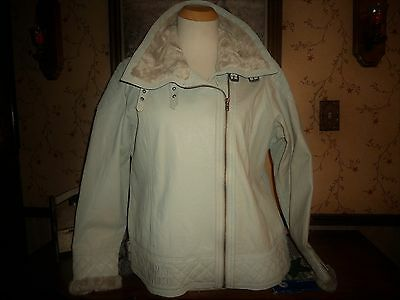 "Nwt Harley Davidson  Ivory Leather Jacket ""rare Find"" Faux Fur Accent Size 3W"