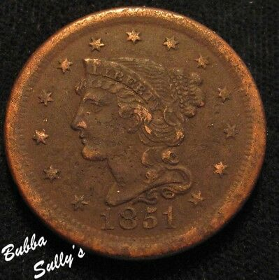 1851 Braided Hair Large Cent <> XF Details <> N-20/28A