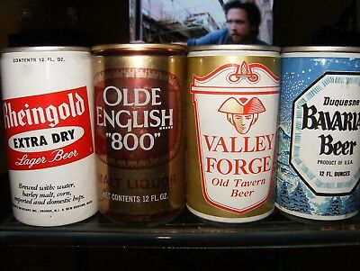(4) 12 Oz. Steel Beer Cans: Rheingold***olde English 800**valley Forge**bavarian