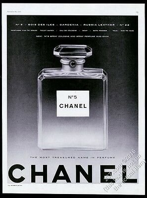 1959 Chanel No.5 perfume large classic bottle photo vintage print ad