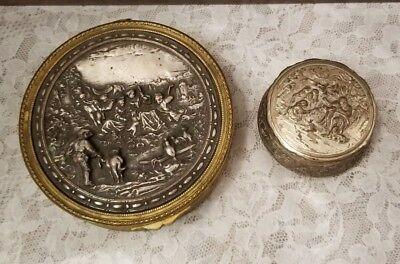 Lot of 2 Primitive Antique Metal Trinket Snuff Jewelry Boxes