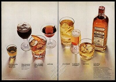 1963 Old Bushmills Irish whiskey 7 drinks and bottle photo vintage print ad