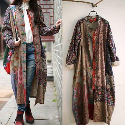100% Cotton Linen Folk Art Women Maxi Long Button Floral Loose Dress Coat X833