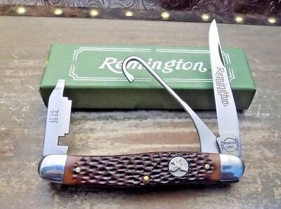 Remington Usa R1 Brown Jigged Delrin Upland Bird Knife Nr