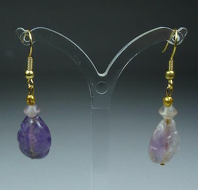 Large Ancient Amethyst And Gold Earrings