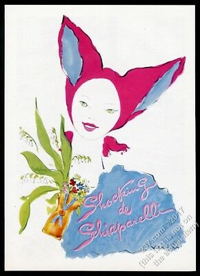 1944 Schiaparelli Shocking perfume woman and bottle Vertes art vintage print ad