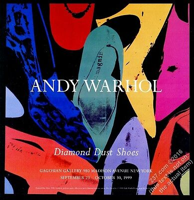 1999 Andy Warhol Diamond Dust Shoes art NYC gallery show vintage print ad