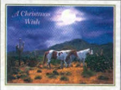 Xmas Cards PAINT HORSES in Moonlight Holiday Cards 10 per box