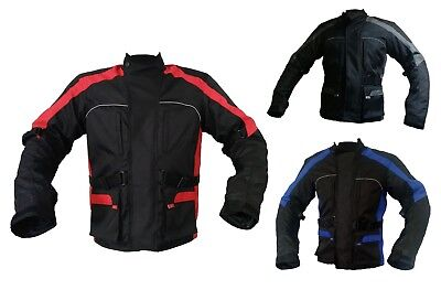 New Waterproof Motorbike Motorcycle Mens Jacket Cordura Textile Black