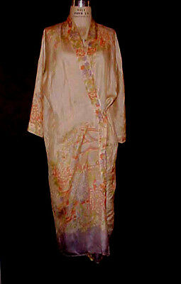 Antique Vtg Chinese Robe, Printed Silk Floral Motif, Art Deco Era, Women's Sz