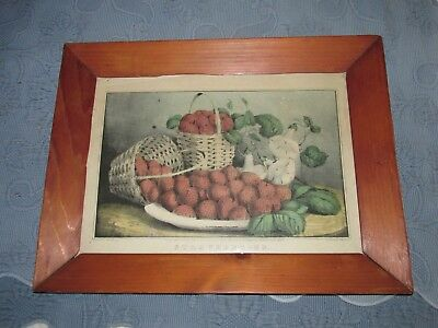 Antique Victorian Pine Picture Frame Currier & Ives Strawberries Print,Old Glass